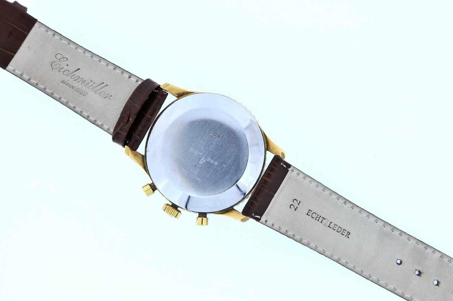 Breitling Stahl vergoldete Armbanduhr an Lederband, Breitling Navitimer, Fliegerchronograph, - Bild 4 aus 5