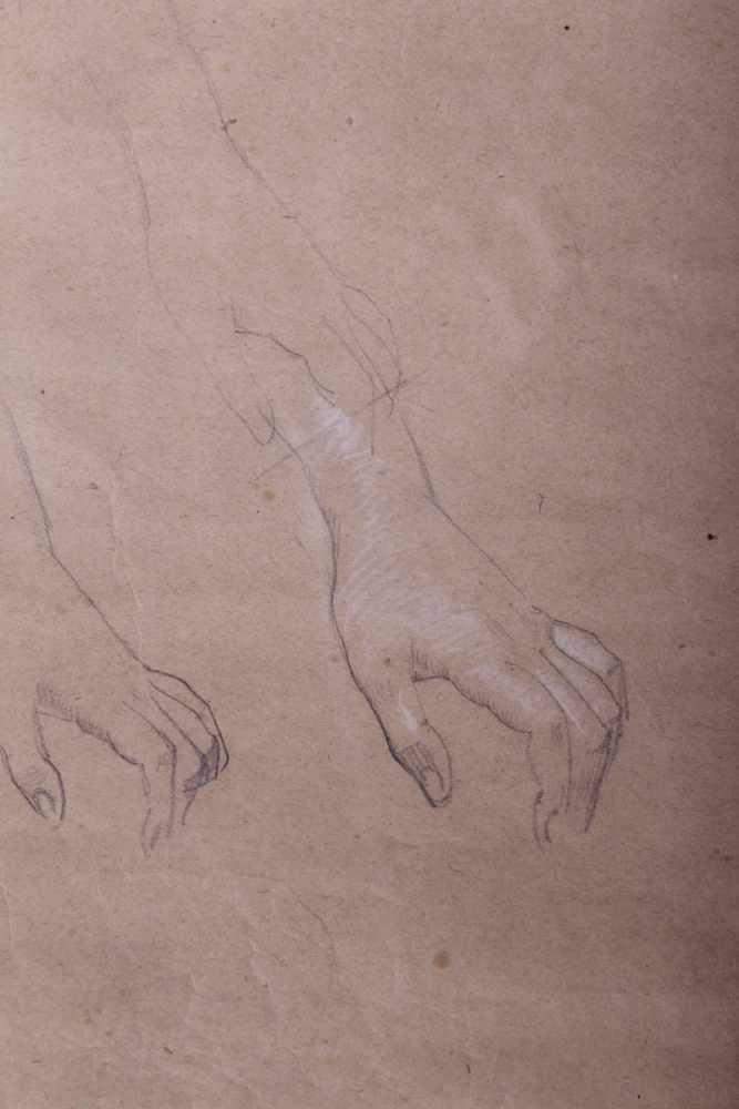 Gustav Klimt 1862-1918, Handstudien, Bleistift, weiße Kreide auf Papier, Holzrahmen, hinter Glas,