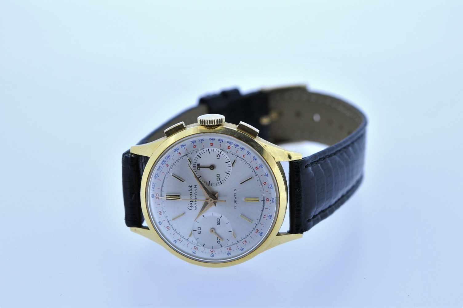 Gigandet Goldene 18karätige Armbanduhr an Lederband, Gigandet Wakmann, Chronograph, Stoppfunktion, - Bild 5 aus 5