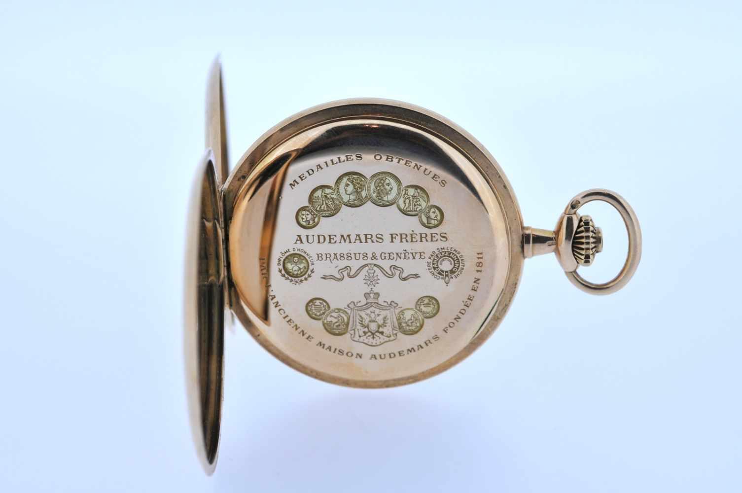 Goldene Herrentaschenuhr Goldene Herrentaschenuhr mit Springdeckel und kleiner Sekunde, Audemars - Bild 4 aus 4