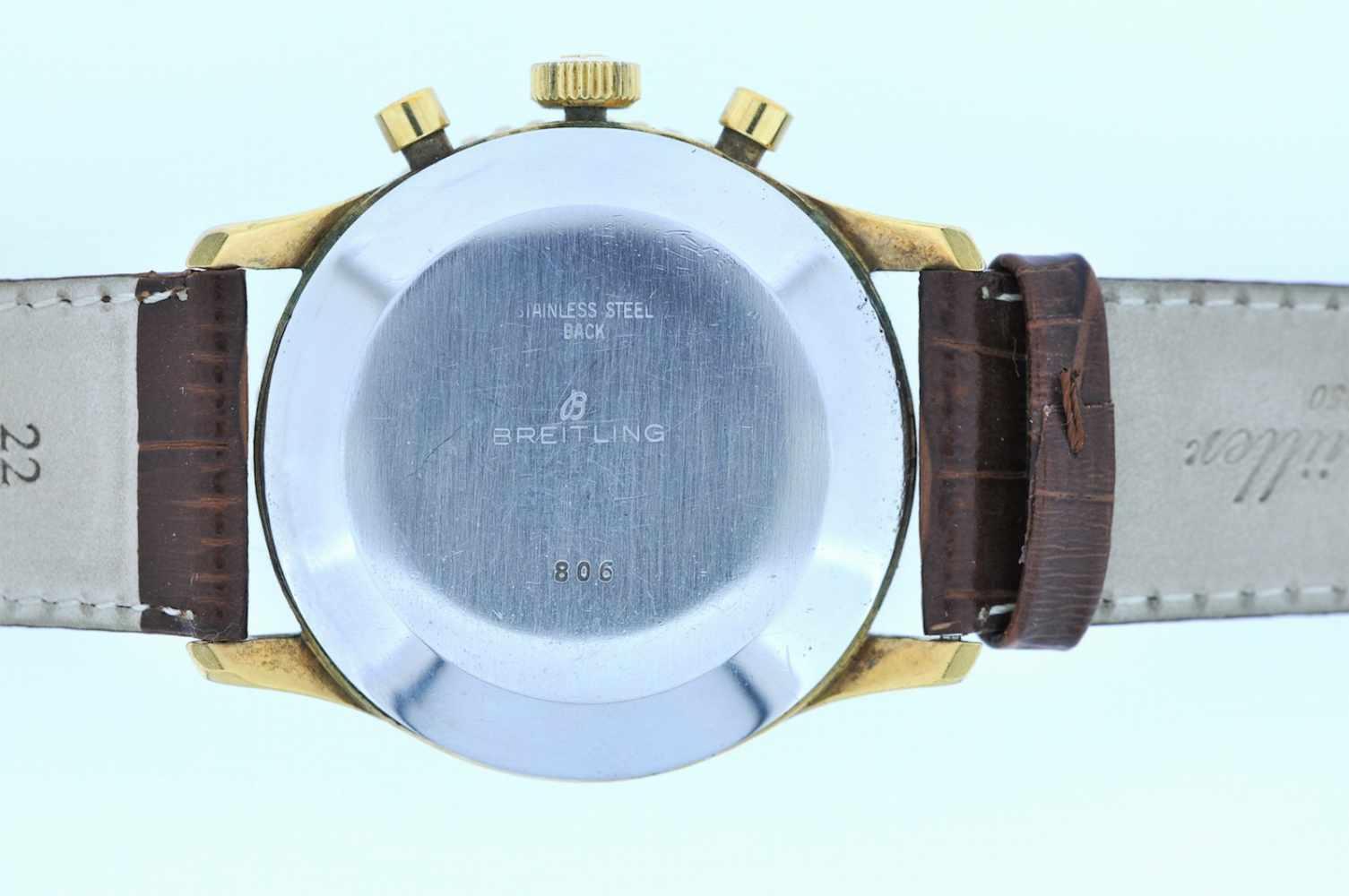 Breitling Stahl vergoldete Armbanduhr an Lederband, Breitling Navitimer, Fliegerchronograph, - Bild 5 aus 5