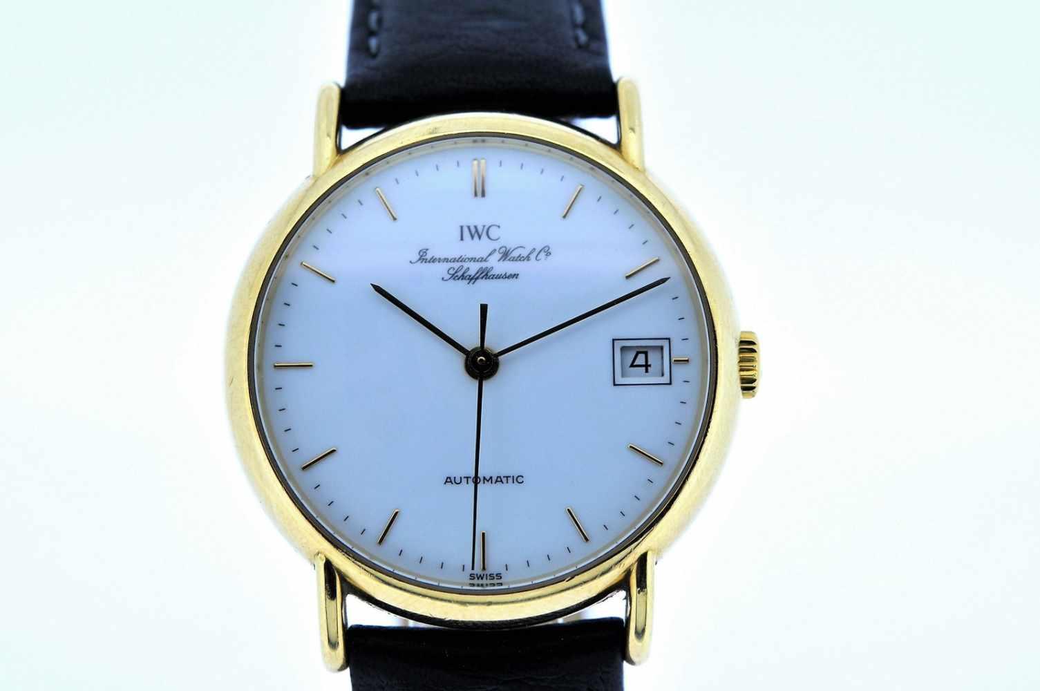 IWC Goldene 18karätige Armbanduhr an Lederband, IWC, Automatik, zentrale Sekunde, Ankerwerk, - Bild 4 aus 4