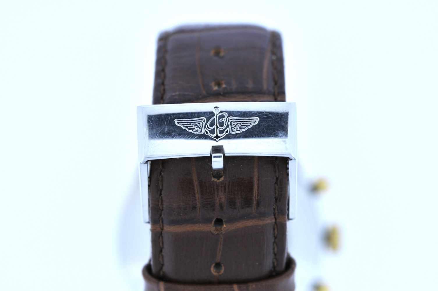 Breitling Stahl vergoldete Armbanduhr an Lederband, Breitling Navitimer, Fliegerchronograph, - Bild 2 aus 5