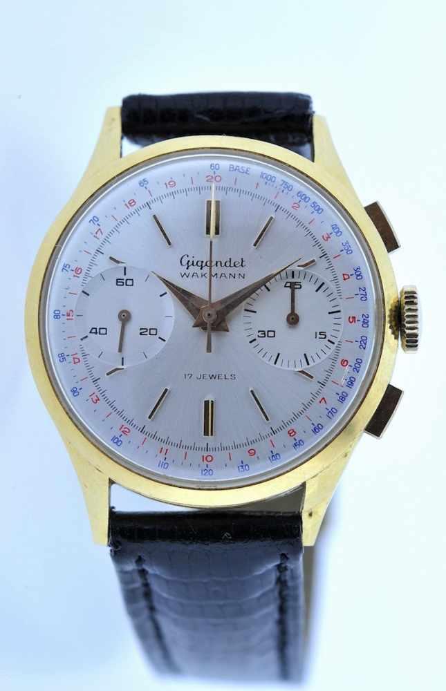 Gigandet Goldene 18karätige Armbanduhr an Lederband, Gigandet Wakmann, Chronograph, Stoppfunktion,