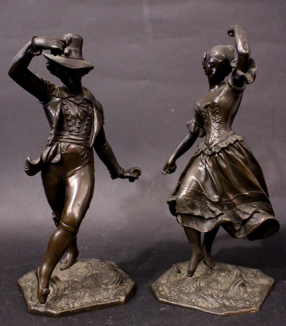 Lot 11 - 19TH CENTURY PAIR OF BRONZE FIGURES, depicting a man & woman dancing