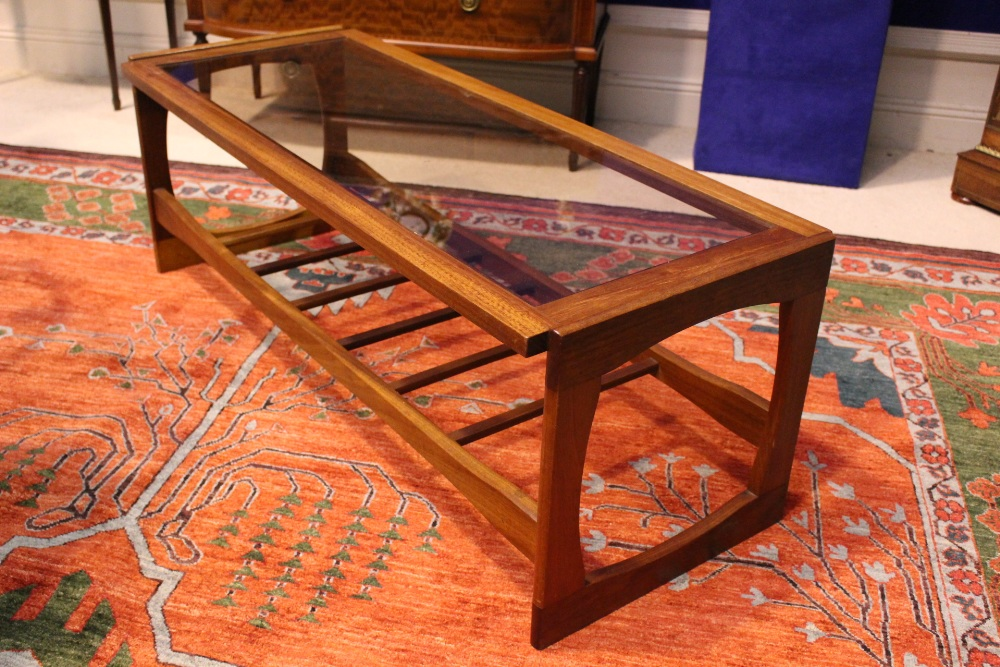 """Lot 55 - A MID-CENTURY TEAK & GLASS """"LADDER"""" COFFEE TABLE, possibly Danish, 47"""" x 19"""" x 17"""" approx"""