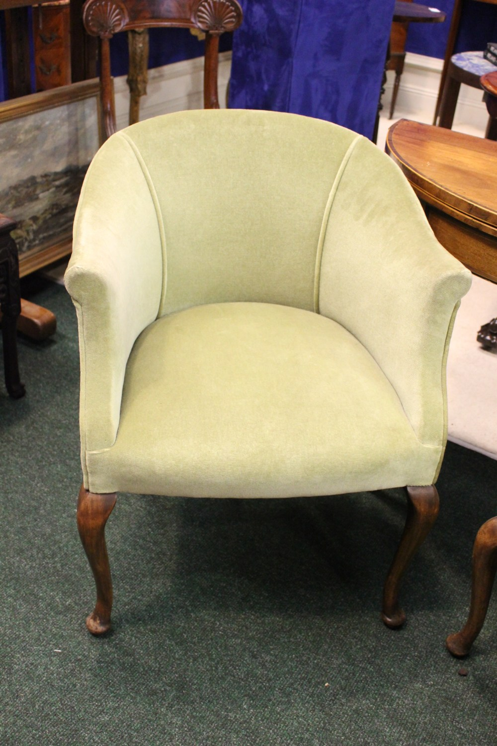 Lot 45 - A PAIR OF VERY GOOD TUB CHAIRS, raised on Queen Anne shaped leg