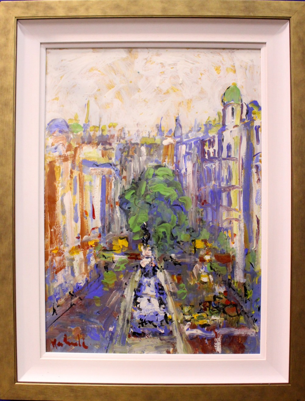 """Lot 38 - MARIE CARROLL, """"BUSTLE ON O'CONNELL STREET"""", acrylic on card, signed lower left, Duke St Gallery"""