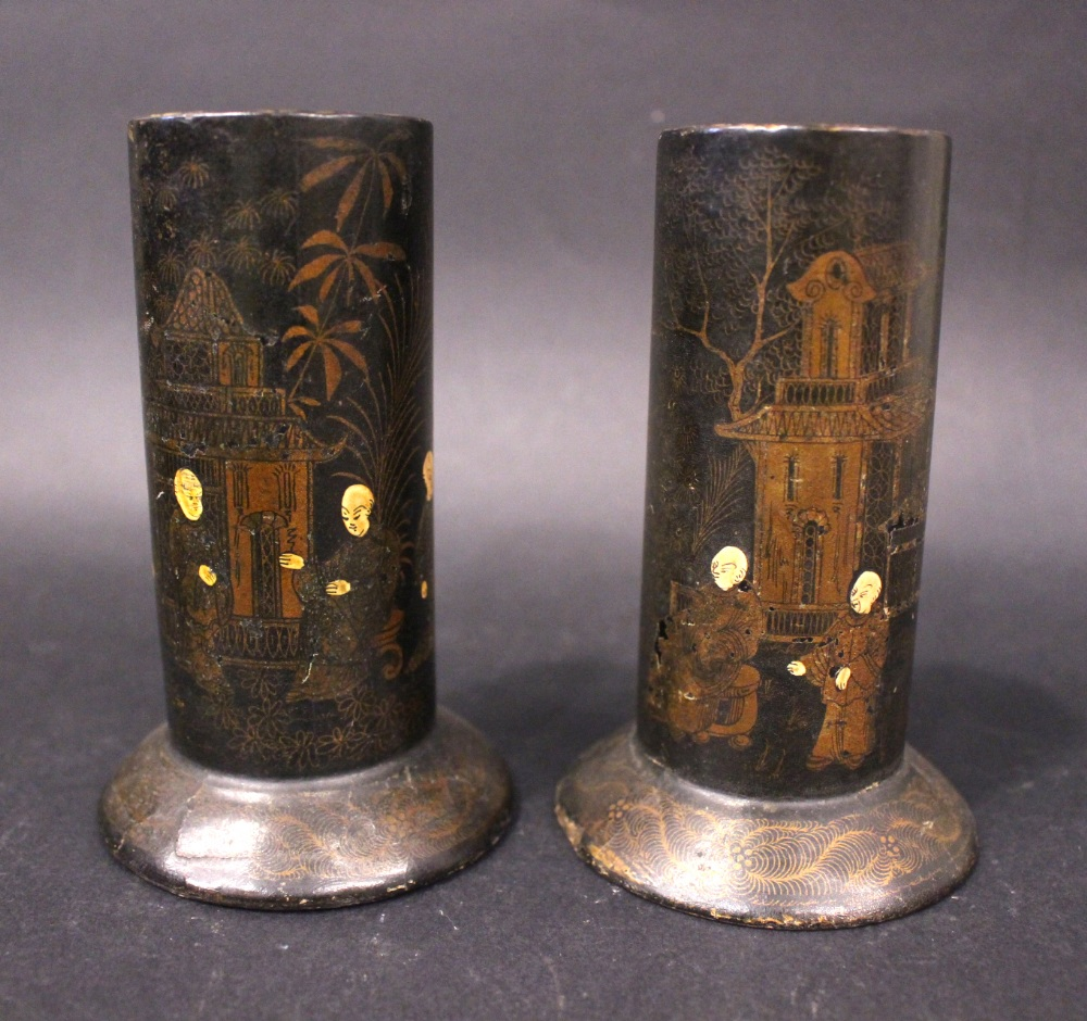 Lot 33 - A PAIR OF BLACK LACQUERED PAPER MACHE SPILL VASES