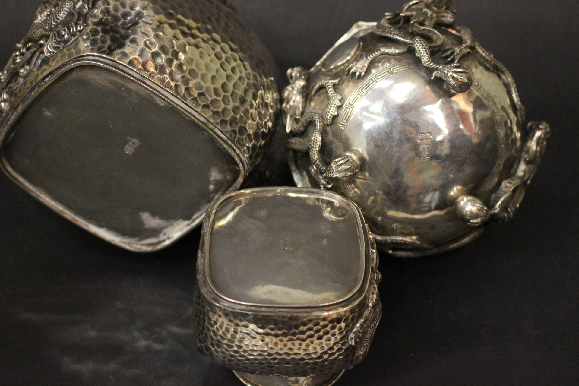 Lot 7 - A LATE 19TH CENTURY/EARLY 20TH CENTURY CHINESE EXPORT SILVER THREE PIECE TEA SET