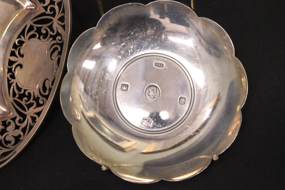 Lot 18 - A MIXED SILVER LOT, includes; (1) A Pierced Silver Bowl, decorated with floral and foliage design