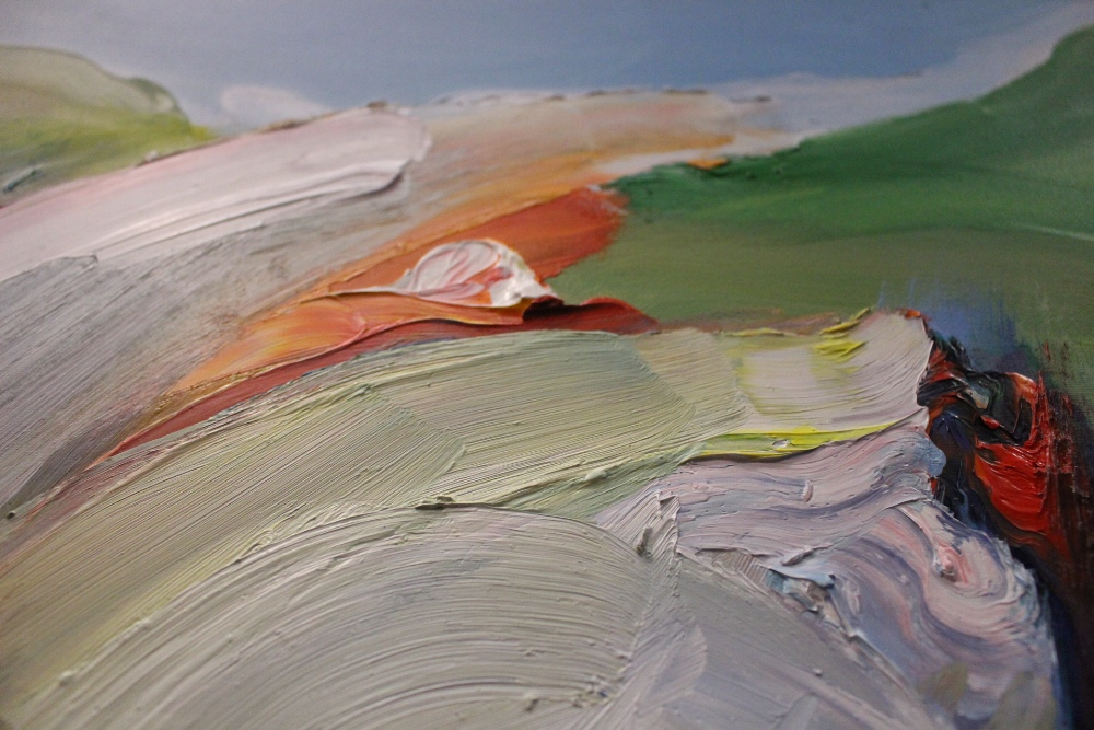 "Lot 39 - MAJELLA O'NEILL COLLINS, IRISH (b. 1964), ""FLYING OVER SHERKIN ISLAND II"", oil on canvas"