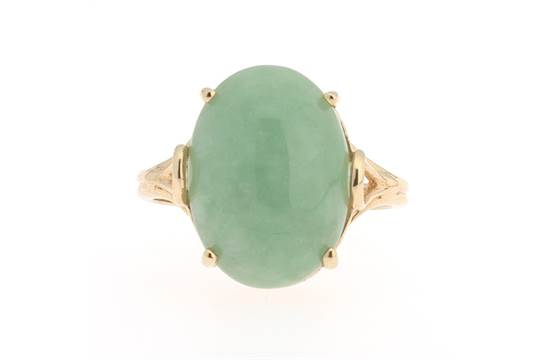 182c94ba541a0 Ladies' Light Green Jade Ring 14k yellow gold ring set with a light ...