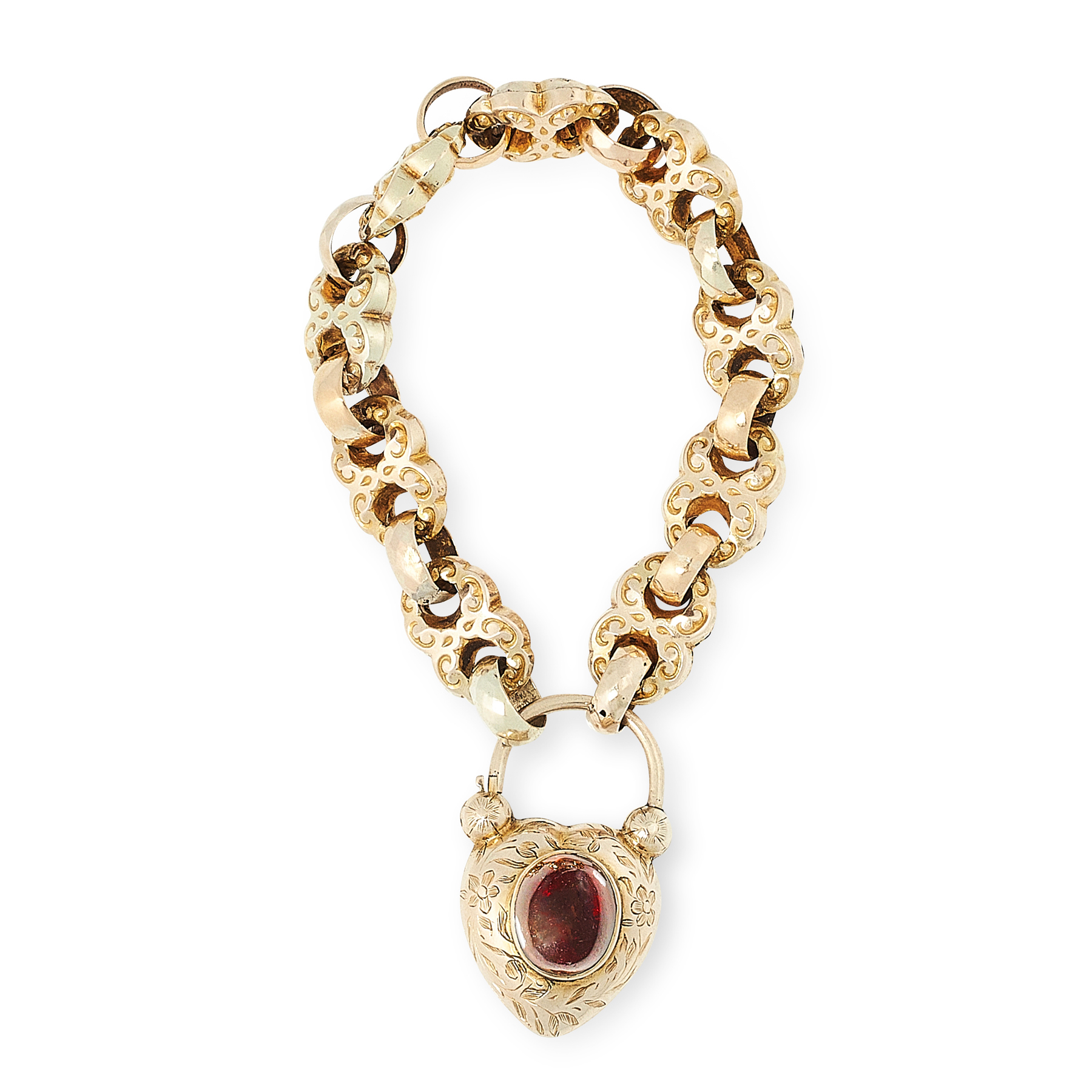 AN ANTIQUE GARNET AND HAIRWORK SWEETHEART LOCKET BRACELET, 19TH CENTURY in yellow gold, formed of