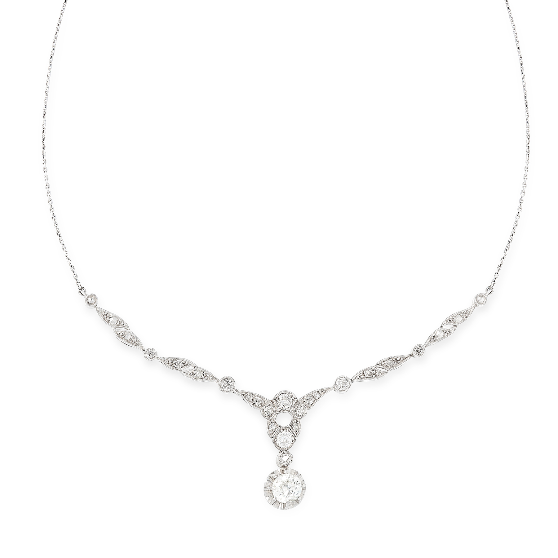 A DIAMOND NECKLACE, EARLY 20TH CENTURY set with a principal old cut diamond of 0.84 carats suspended