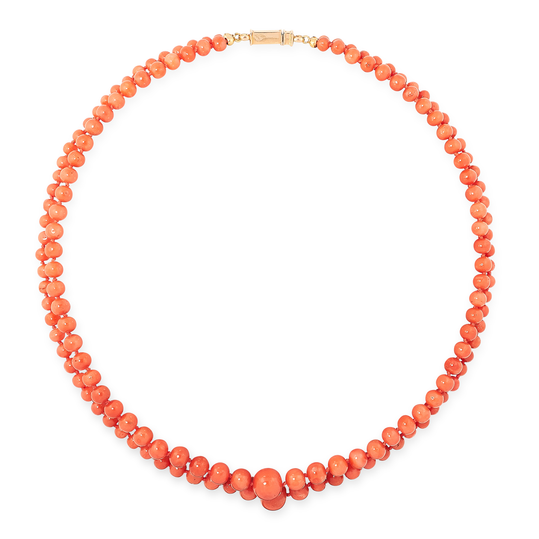 AN ANTIQUE CORAL BEAD NECKLACE comprising a single row of ninety-five graduated coral beads