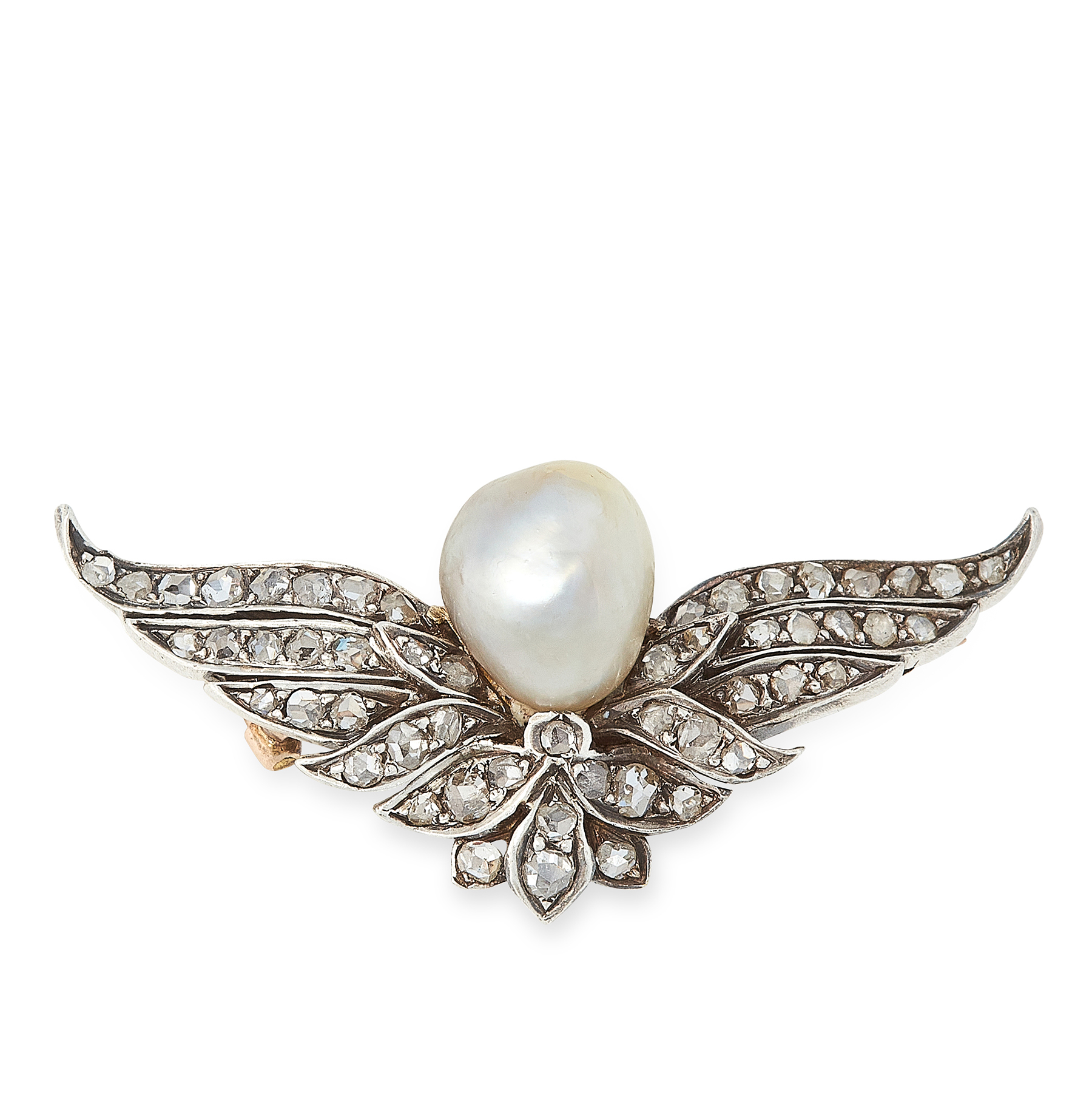 AN ANTIQUE NATURAL PEARL AND DIAMOND BROOCH, LATE 19TH CENTURY in yellow gold and silver, set with a