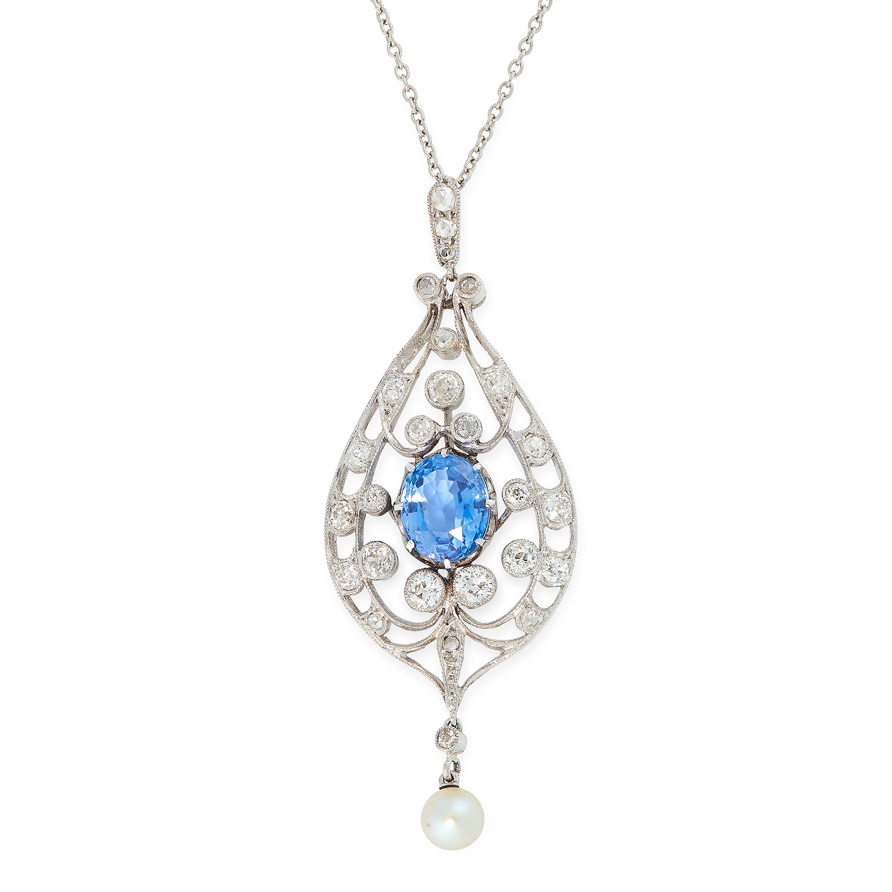 A CEYLON NO HEAT SAPPHIRE, PEARL AND DIAMOND PENDANT, EARLY 20TH CENTURY in 18ct white gold, the