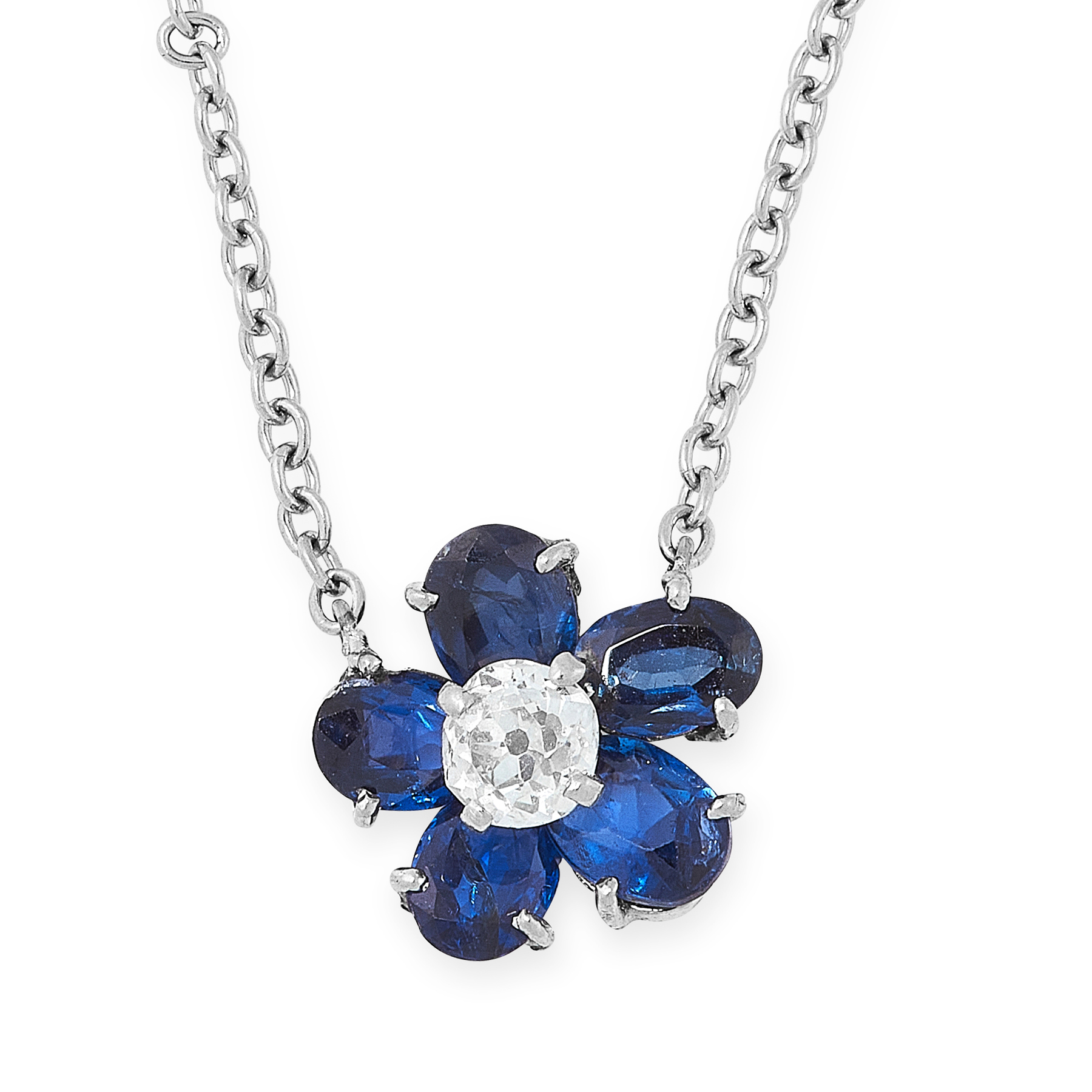A SAPPHIRE AND DIAMOND PENDANT NECKLACE designed as a flower, set with an old cut diamond within a