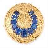AN ANTIQUE SAPPHIRE AND DIAMOND BROOCH, 19TH CENTURY in yellow gold, of circular design, the body