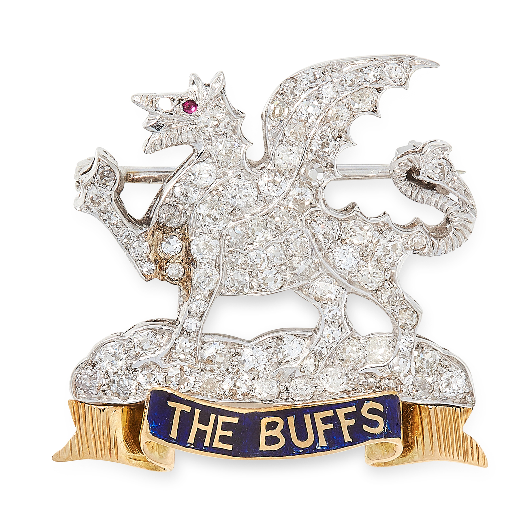 A REGIMENTAL DIAMOND, RUBY AND ENAMEL BROOCH / PIN BADGE in yellow and white gold, for The Buffs,
