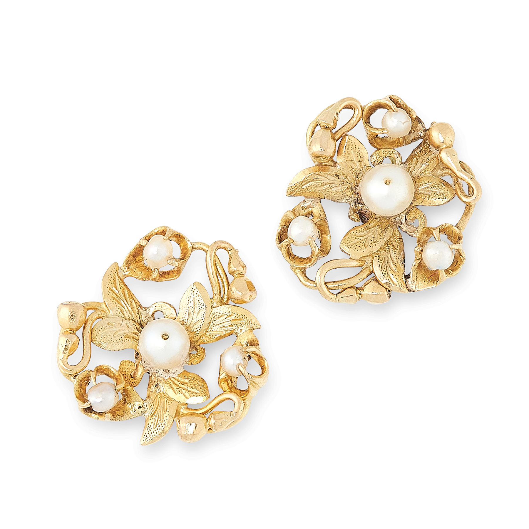 A PAIR OF PEARL STUD EARRINGS, EARLY 20TH CENTURY in high carat yellow gold, each of foliate