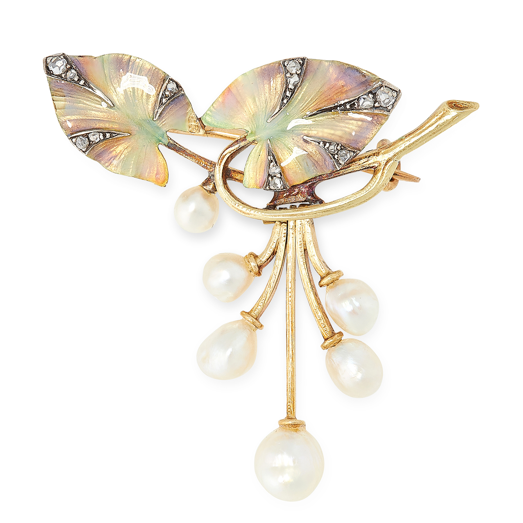 AN ART NOUVEAU PEARL, ENAMEL AND DIAMOND BROOCH, EARLY 20TH CENTURY in 18ct yellow gold, designed as
