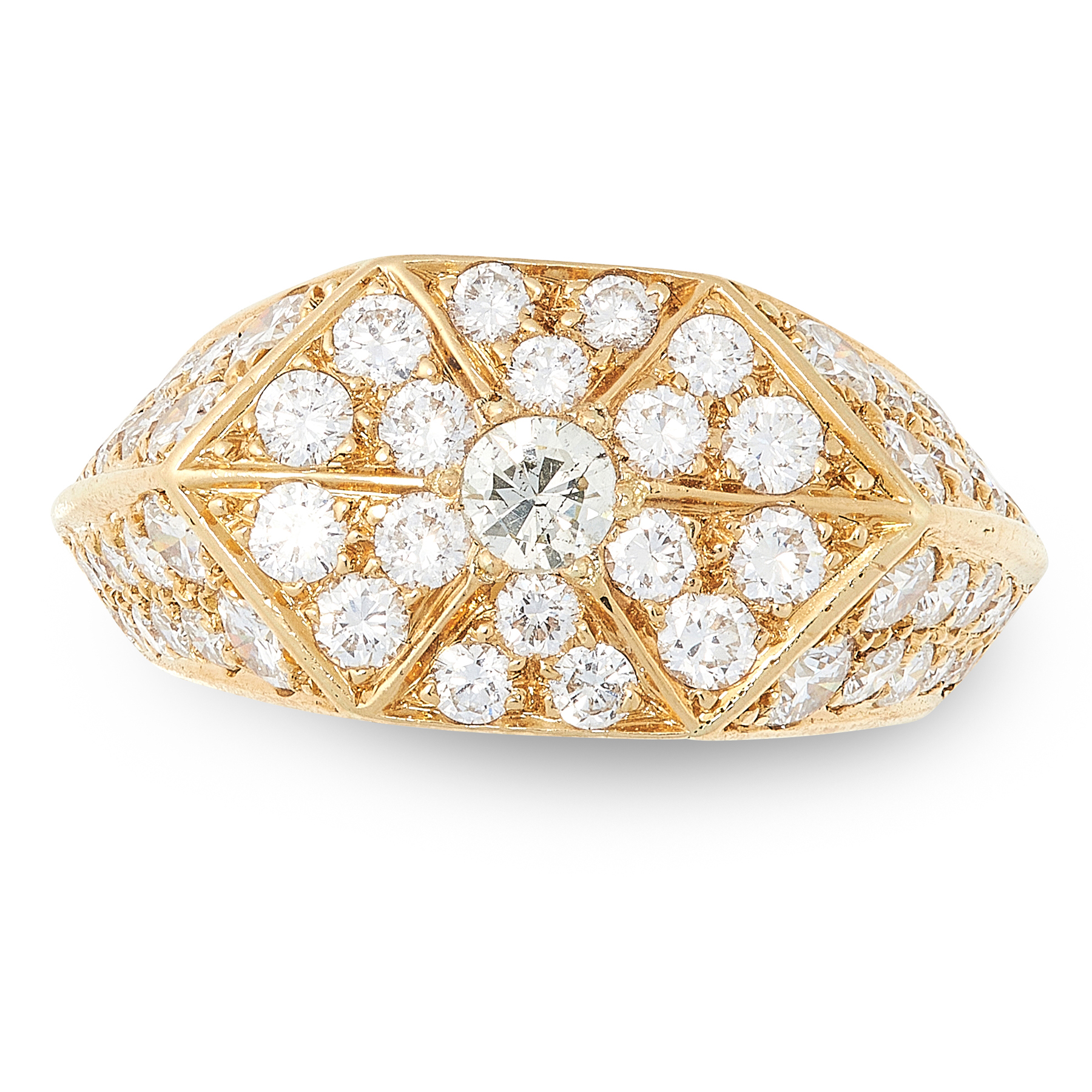 A DIAMOND DRESS RING in 18ct yellow gold, the hexagonal face set with a central round cut diamond