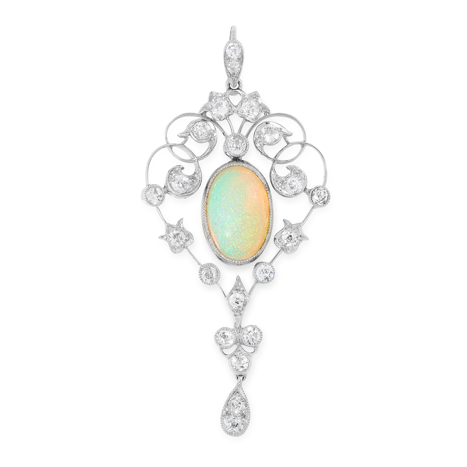 AN OPAL AND DIAMOND PENDANT, EARLY 20TH CENTURY the scrolling design set at the centre with a
