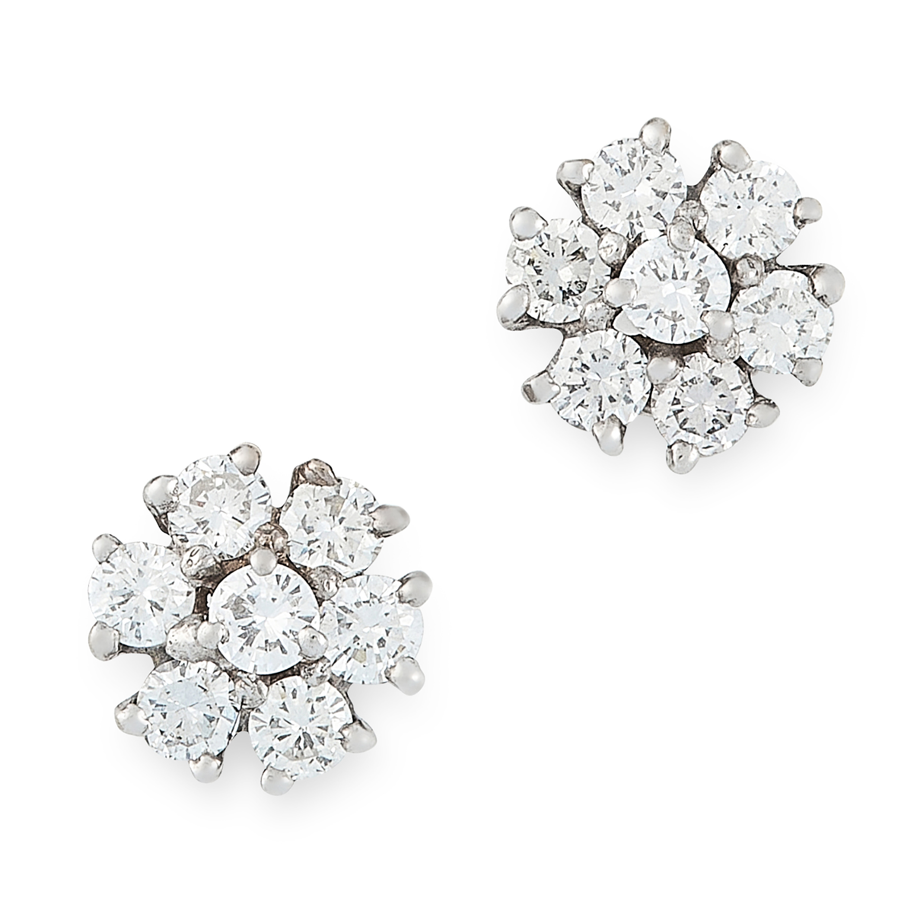 A PAIR OF DIAMOND STUD EARRINGS each set with a cluster of round cut diamonds, totalling 1.0-1.2