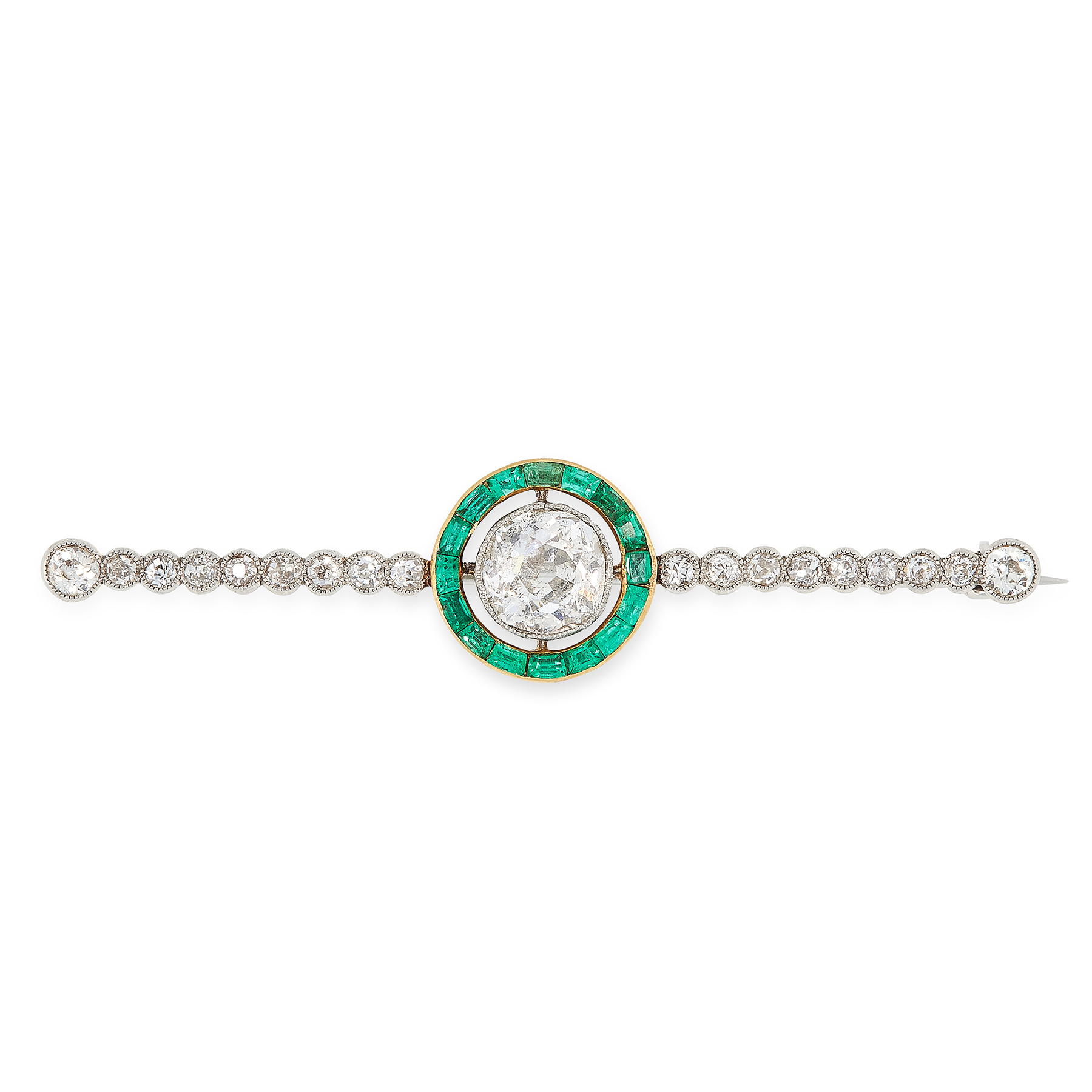 A DIAMOND AND EMERALD BROOCH, CIRCA 1930 set with an old cut diamond of 1.19 carats within a