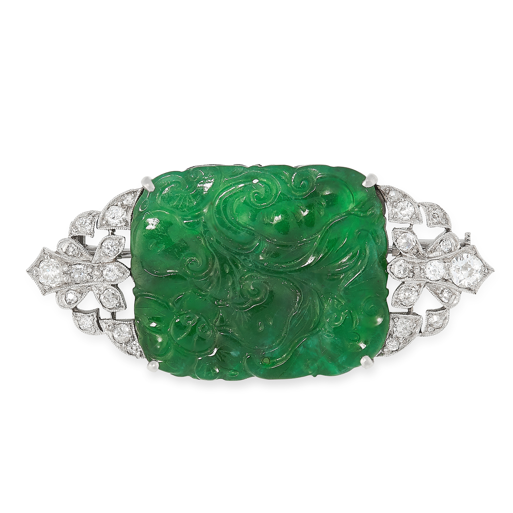 AN ANTIQUE JADEITE JADE AND DIAMOND BROOCH in white gold, set with a cushion shaped piece of