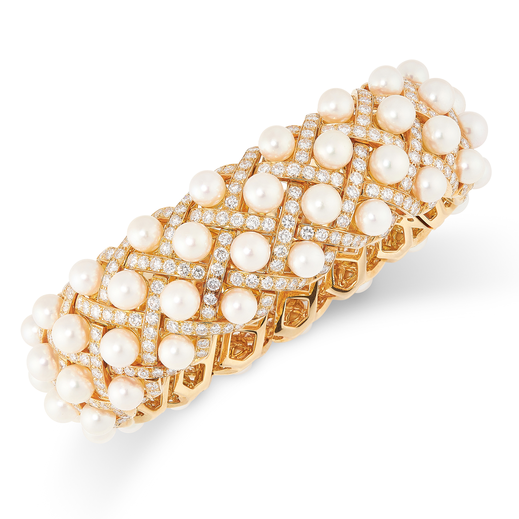 A PEARL AND DIAMOND MATELASSE BRACELET BANGLE, CHANEL in 18ct yellow gold, the articulated body of