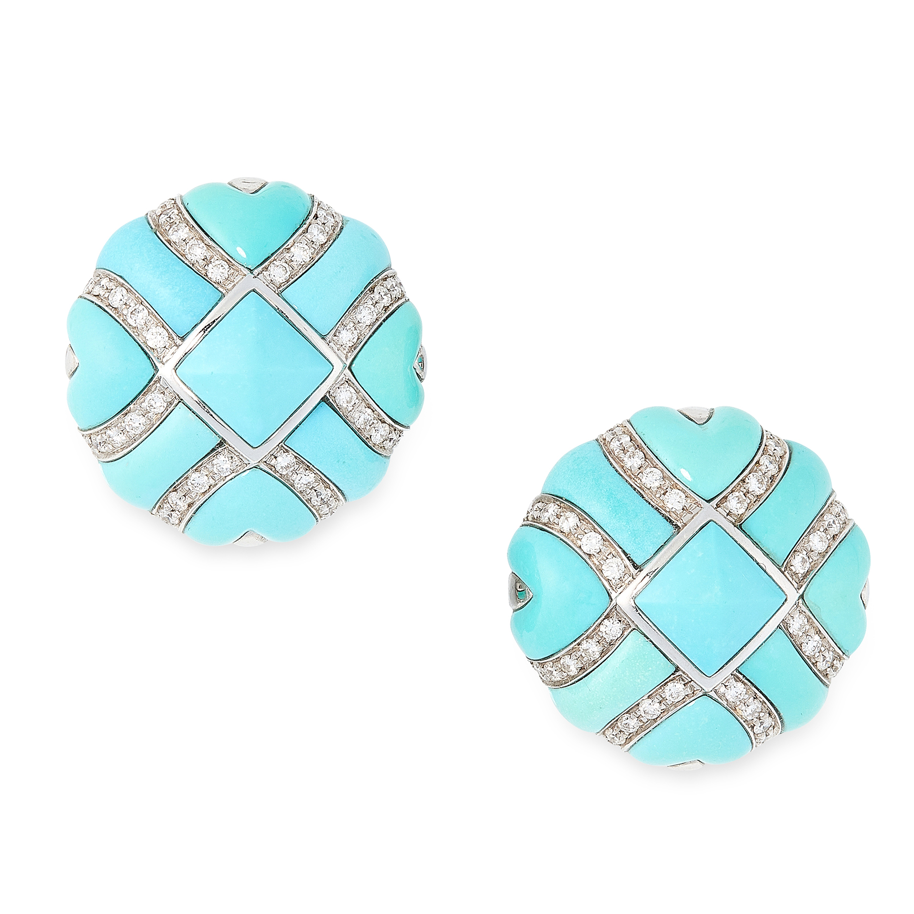 A PAIR OF VINTAGE TURQUOISE AND DIAMOND EARRINGS in 18ct white gold, each set with a square