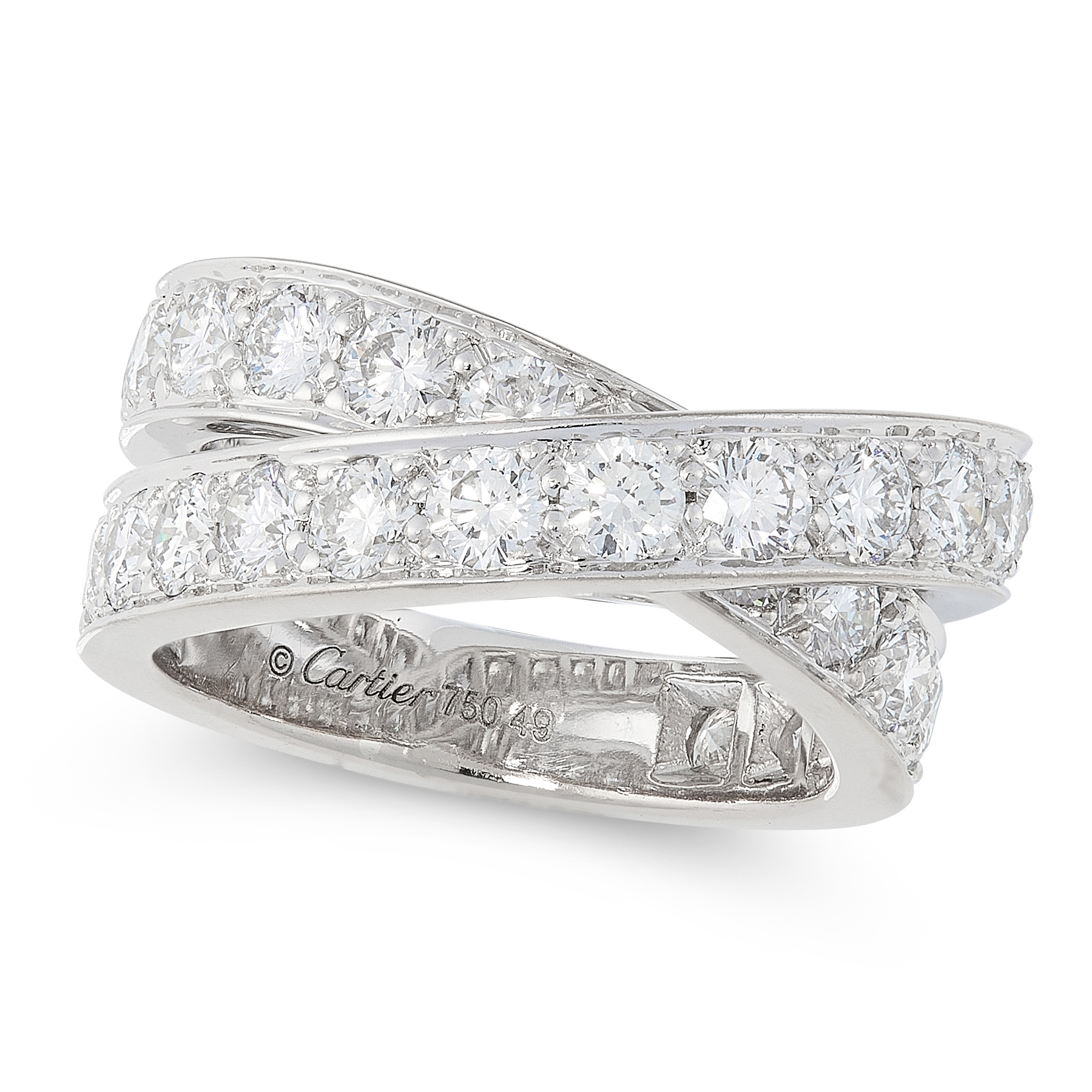 A NOUVELLE VAGUE DIAMOND CROSSOVER RING, CARTIER in 18ct white gold, designed as two overlapping