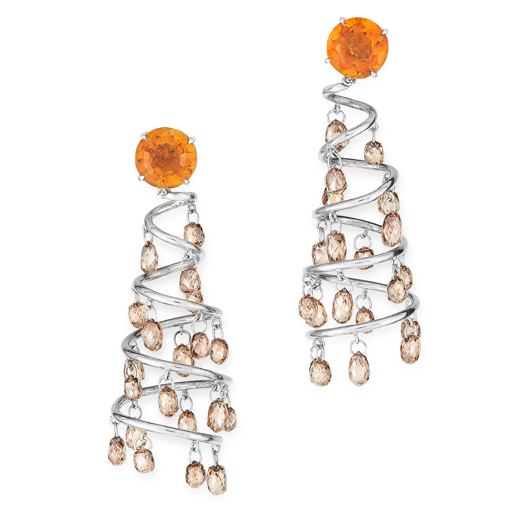 A PAIR OF DIAMOND AND CITRINE CHANDELIER EARRINGS in 18ct white gold, each designed as a tapering