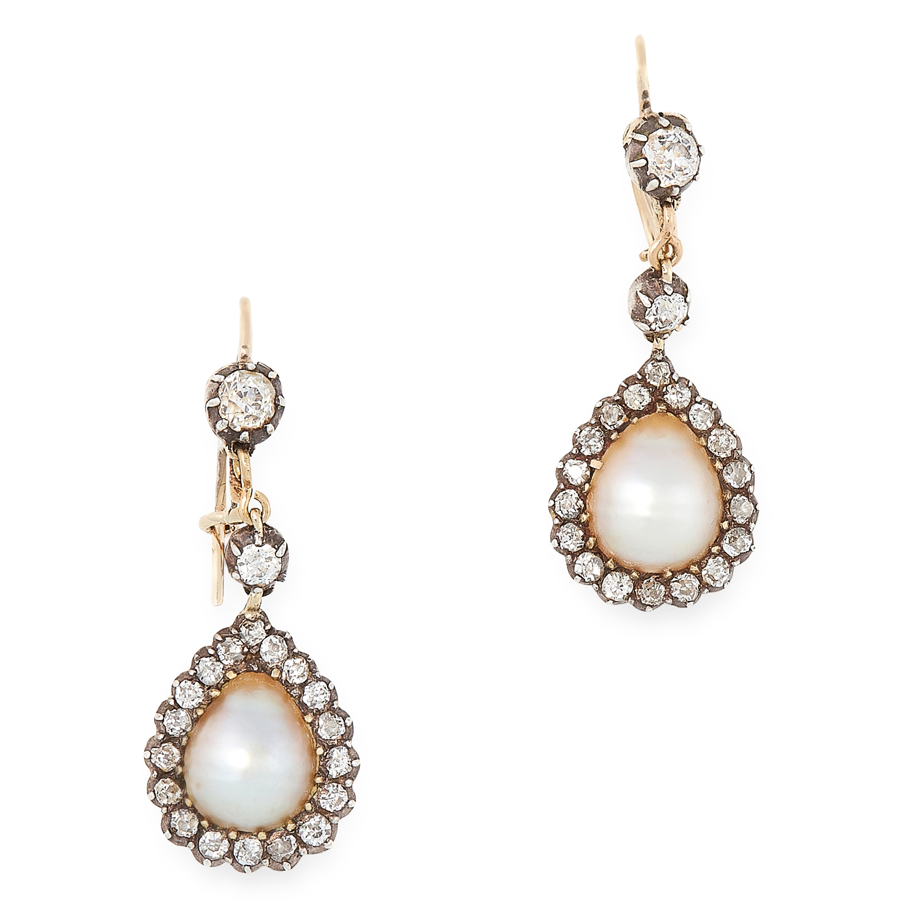 A PAIR OF PEARL AND DIAMOND DROP EARRINGS in yellow gold and silver, each set with a drop shaped