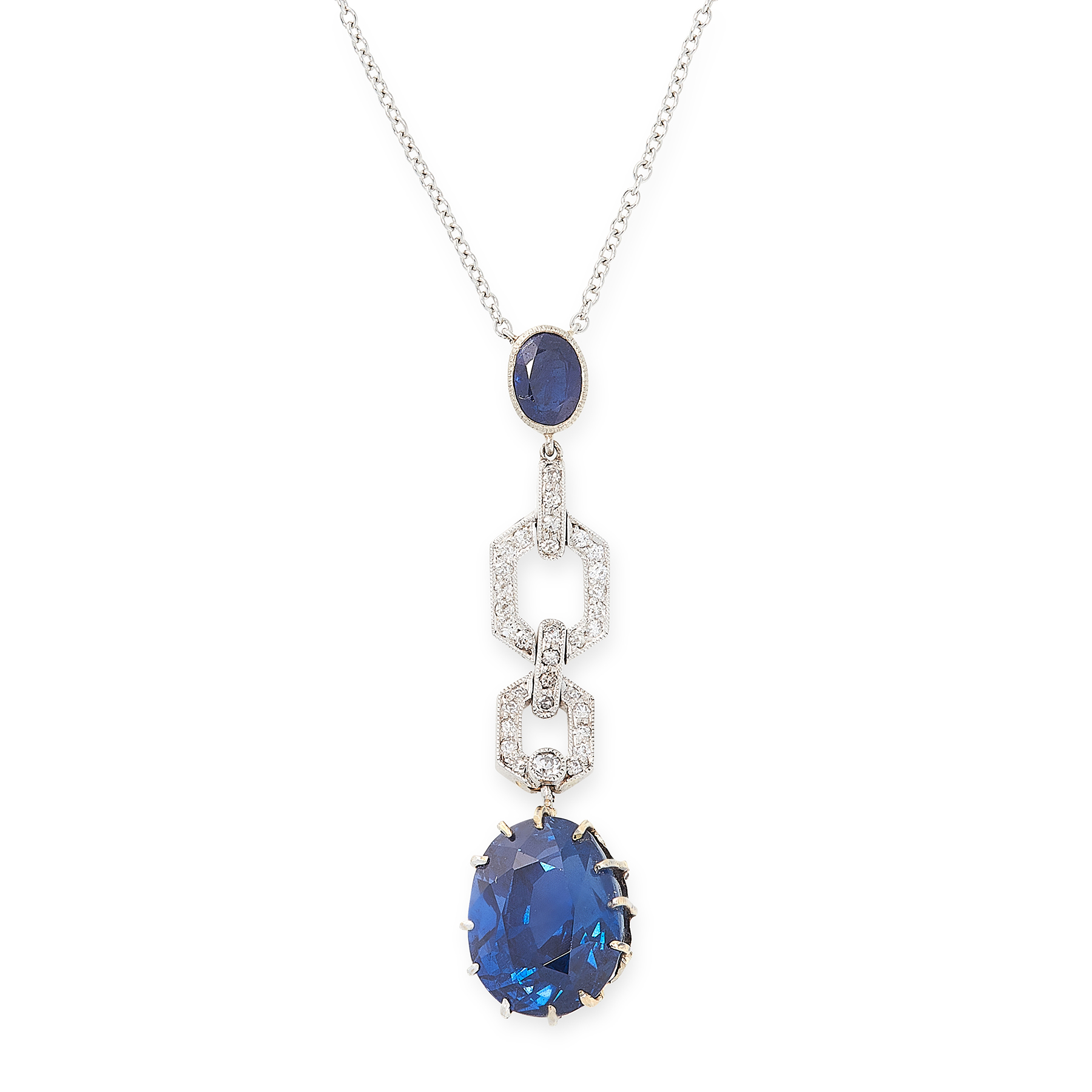 A CEYLON NO HEAT SAPPHIRE AND DIAMOND PENDANT NECKLACE set with a principal oval cut blue sapphire
