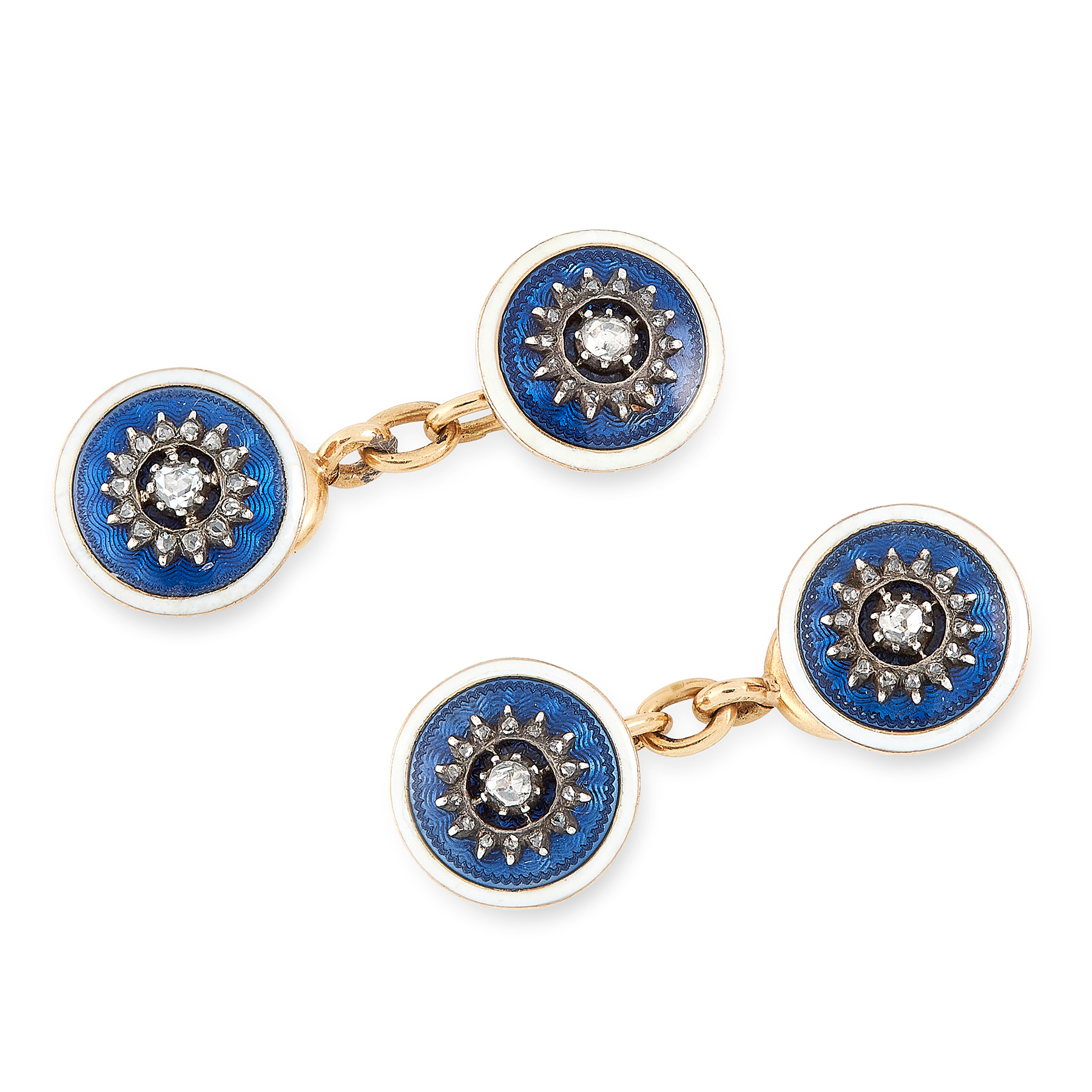 A PAIR OF ENAMEL AND DIAMOND CUFFLINKS, CARTIER in 18ct yellow gold, each formed of two circular