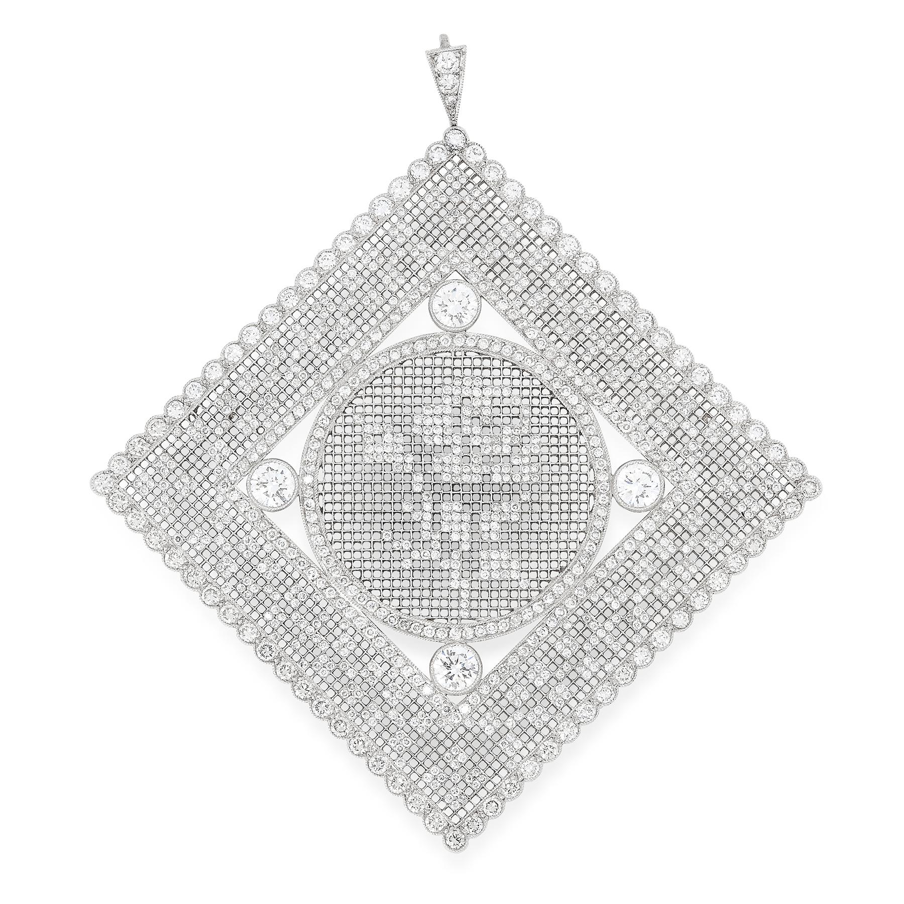 A DIAMOND PENDANT the large square body of lattice design inset with four principal round cut
