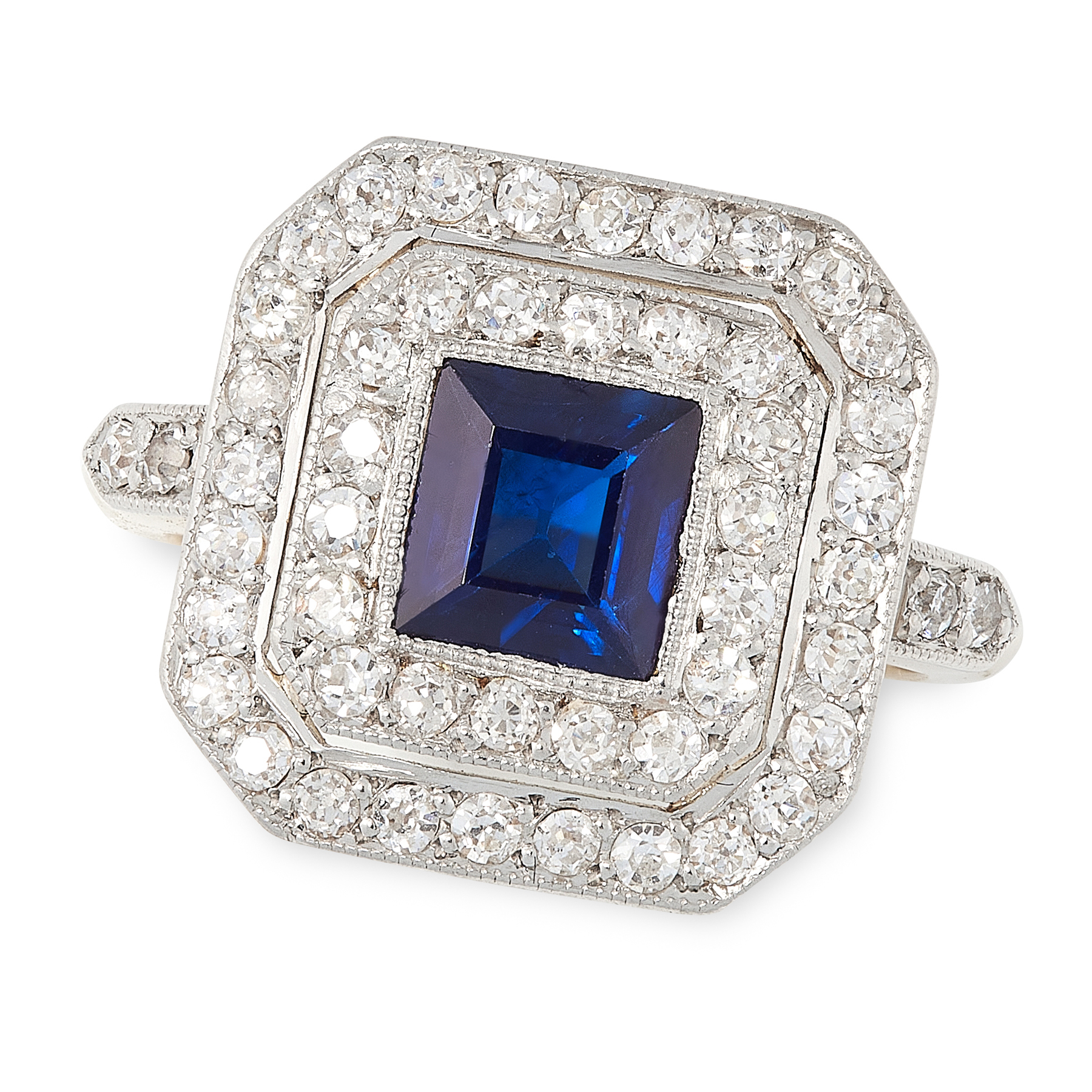 A SAPPHIRE AND DIAMOND DRESS RING, CIRCA 1930 in 18ct yellow gold, set with a square cut sapphire of