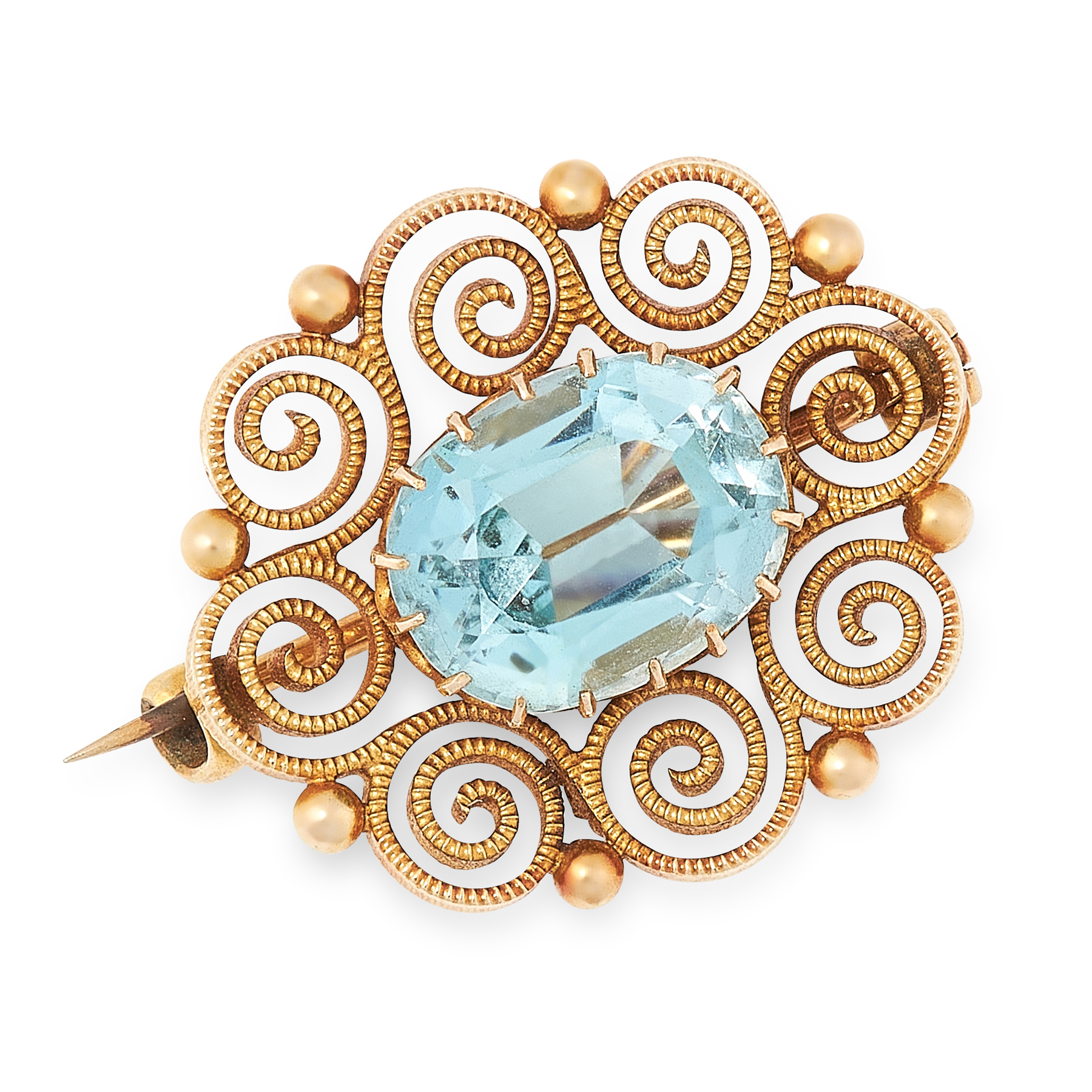 A ZIRCON BROOCH in high carat yellow gold, set with an oval cut zircon of 6.85 carats, within a