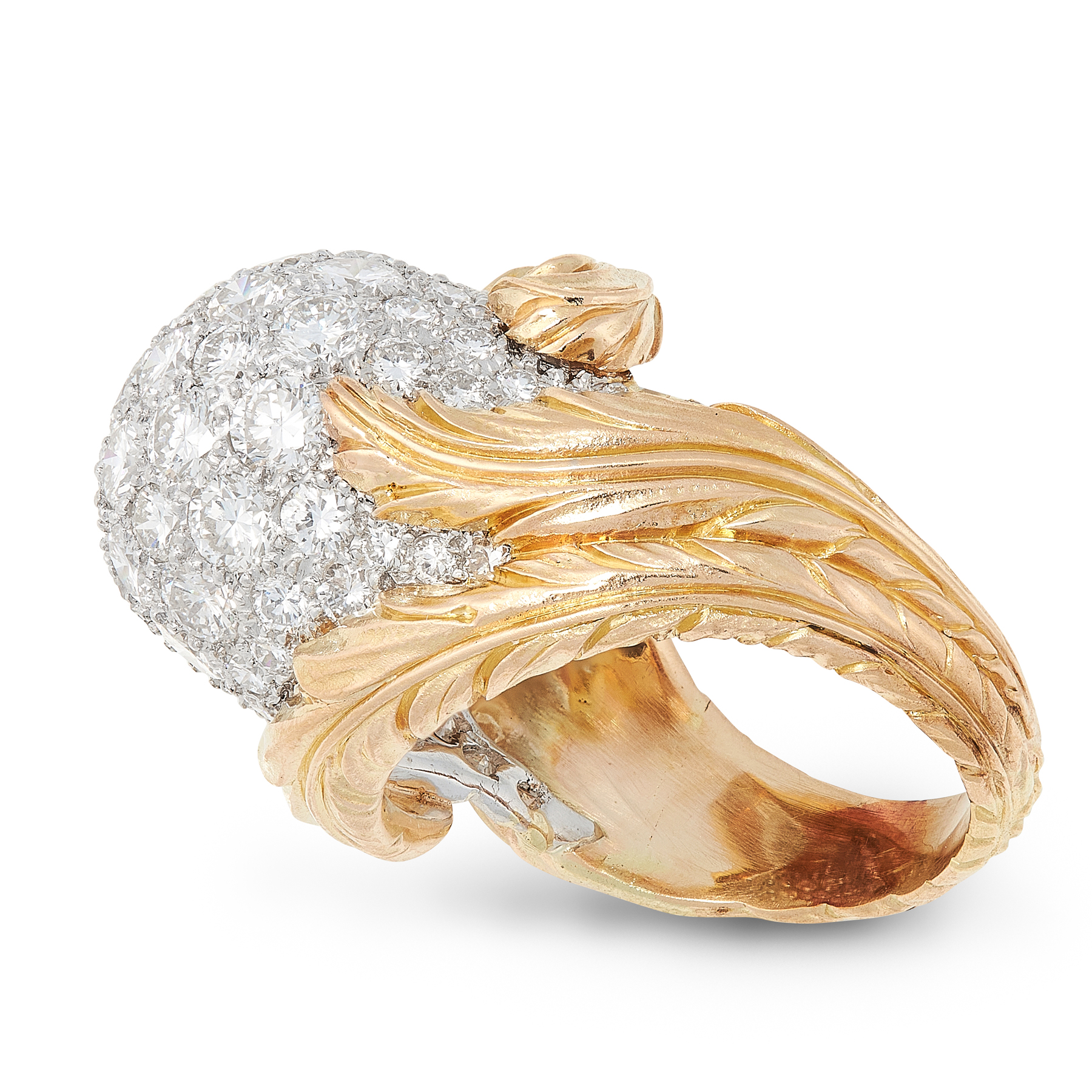 A VINTAGE DIAMOND BOMBE DRESS RING in yellow gold, the central ball motif jewelled allover with - Image 2 of 2