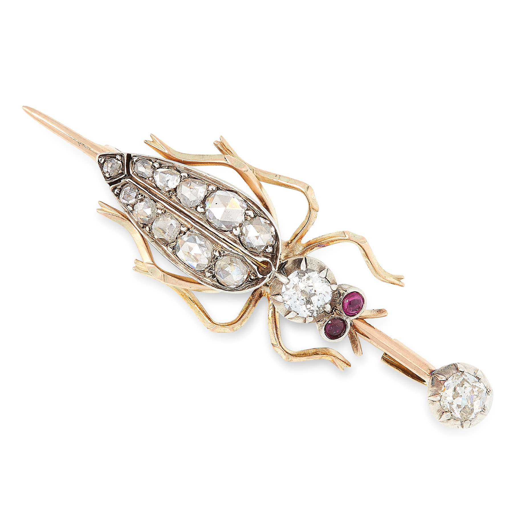 AN ANTIQUE DIAMOND AND RUBY BEETLE BROOCH, LATE 19TH CENTURY in high carat yellow gold and silver,