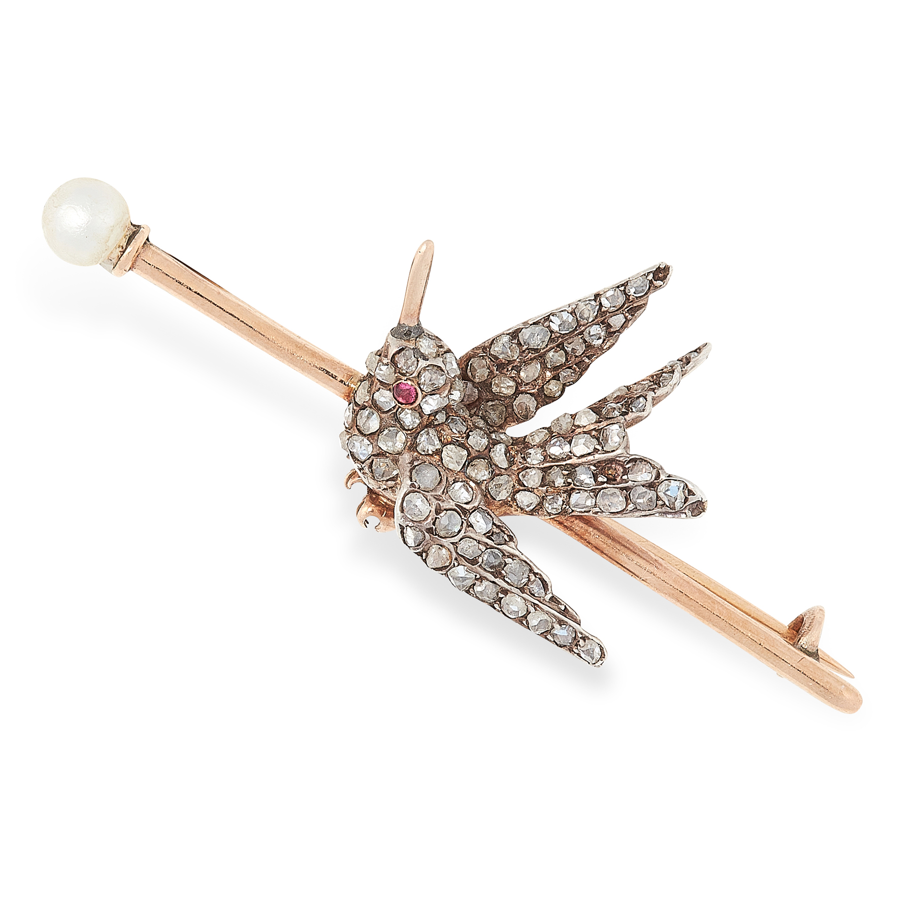 AN ANTIQUE RUBY, PEARL AND DIAMOND BIRD BROOCH in yellow gold and silver, the bar terminated with