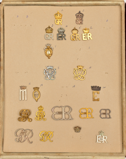 Lot 14 - An interesting maker's or military tailor's sample board of personal cyphers of members of the Royal