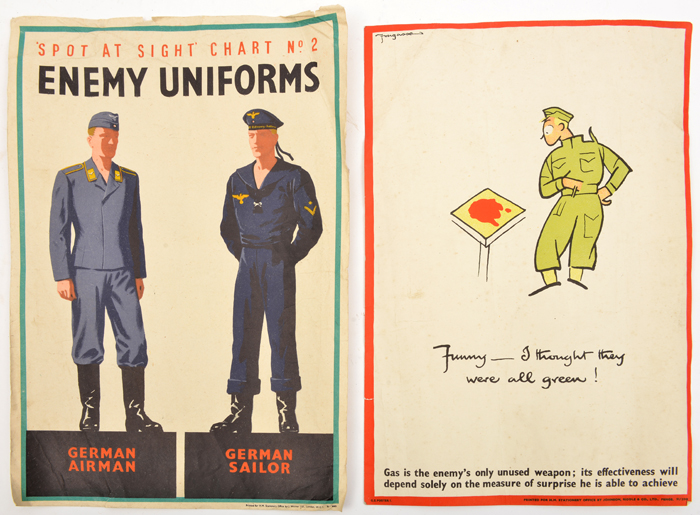 """Lot 25 - 2 WWII A1 posters: """"Spot at Sight Chart No 2 - Enemy Uniforms"""" showing German airman and sailor, and"""