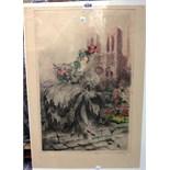 Lot 1550 - Louis Icart (1888-1950), Musette, colour etching, signed, unframed, 52.5cm x 34.5cm.