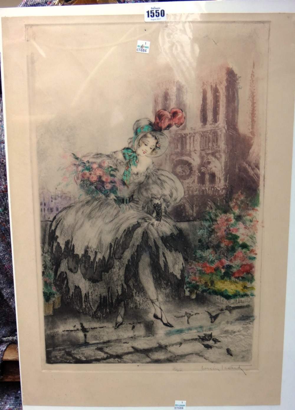 Lot 1550 - Louis Icart (1888-1950), Musette, colour etching, signed, unframed, 52.5cm x 34.5cm.