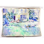 Lot 1549 - James Bolivar Manson (1879-1945), Muirhead Bone's garden, watercolour, signed with initials,